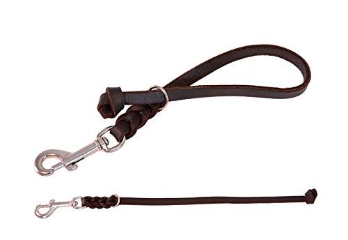 CopcoPet - Fettleder Kurzführer mit verchromten Karabiner, Schwarz, 10 mm Breit