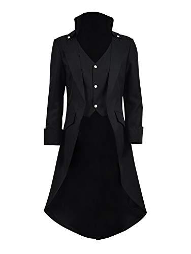 Very Last Shop Mens Gothic Tailcoat Jacket Black Steampunk Victorian Long Coat Halloween Costume (US Men-M, Black)