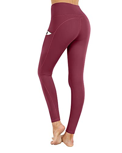 PHISOCKAT High Waist Yoga Pants with Pockets, Tummy Control Yoga Pants for Women, Workout 4 Way Stretch Yoga Leggings (Wine, Small)