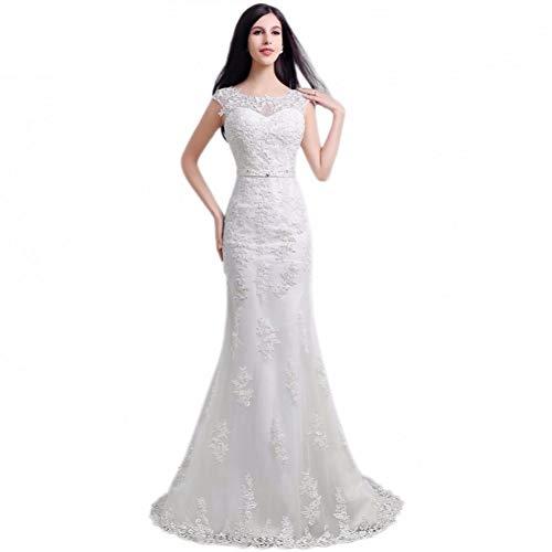 BINGQZ Damen/Elegant Kleid/Cocktailkleider O-Ausschnitt Applikationen Perlen Zipper Back Mermaid Sweep Zug Brautkleider Lace Brautkleid
