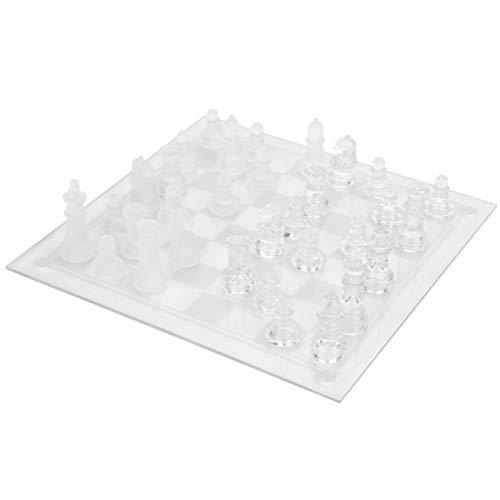 Schachspielzubehör, Glass International Chess Set Shot Trinkset Home Decoration Crystal Clear Checkers Trinkspiel für Camping for Bar