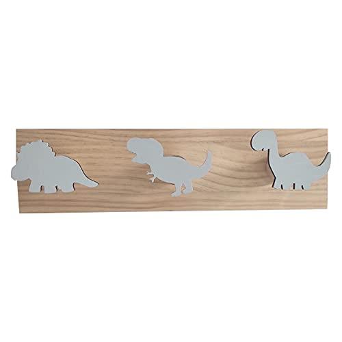 OVBBESS - Appendiabiti da parete con dinosauro, in legno, per cameretta dei bambini, decorazione per la stanza dei giochi, colore: grigio
