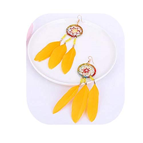 yichahu Pendientes estilo nacionalidad de moda de sección larga borla pendientes de personalidad exagerada pendientes de plumas (amarillo)