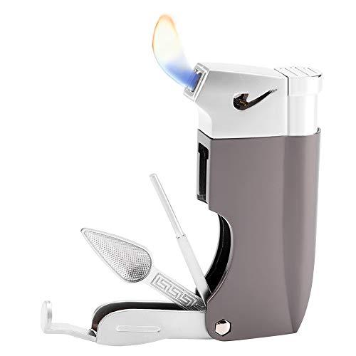 Encendedor de cigarrillos 4 en 1, multifuncional, de plástico resistente al viento, con 3 herramientas de limpieza de tuberías negro