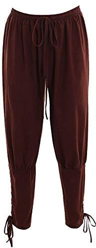 Bslingerie® Herren Mittelalterliche Renaissance-Hose mit elastischer Taille (Braun, XL)