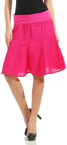 Malito Damen Leinenrock mit Stretchbund   Schlichter Glockenrock   Sommerrock in Uni Farben   Minirock - Rock 1580 (pink)