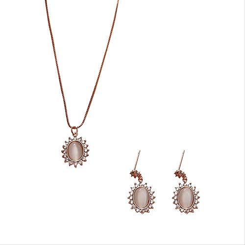 DODO.GOGO Katze Auge Stein Ohrringe Exquisit Set Wasser Diamant Blume Blume vergoldet Echte Gold Halskette Temperament Ohrring Frau