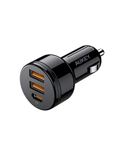 USB C Car Charger, AUKEY 36W 3-Port Fast Car Charger with 18W Quick Charge 3.0, 12V 3A PD Car Charger for iPhone 11 Pro Max XS XR X 8, AirPods, iPad, Samsung S20 Note 10, Google Pixel 4 4XL, Switch