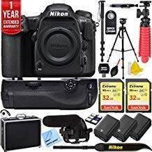 Nikon D500 20.9 MP CMOS DX Format Digital SLR Camera with 4K Video Body Bundle with 2X 32GB Memory Card, 2X Battery, Battery Grip, Microphone, 1 Year Extended Coverage and Accessories (13 Items)