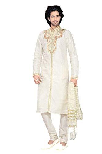 Paridhanlok Mens Silk Dupatta Stole Bandanna Chunni for Sherwani Kurta (Crush White Color)