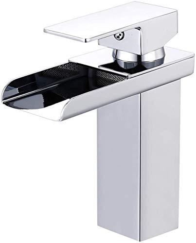 AUTLEAD Wasserhahn Bad, wasserfall Wasserhahn Badezimmer Waschbecken mit Geräuscharmem Keramischem Ventilkern, Heißes und Kaltes Wasser Vorhanden, Verchromt Messing, Waschtischarmatur