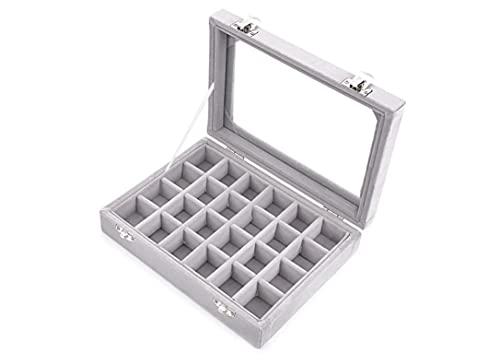 Recet 24 cuadrículas de terciopelo y cristal, pendientes, caja organizadora para joyas, estuche con 2 cierres, color morado