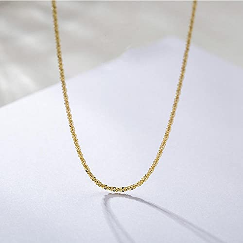WQZYY&ASDCD Necklace Ladies Genuine 925 Sterling Silver Gypsophila Necklace Elegant Sexy Collar Square Necklace Ladies Luxury Jewelry-Or_