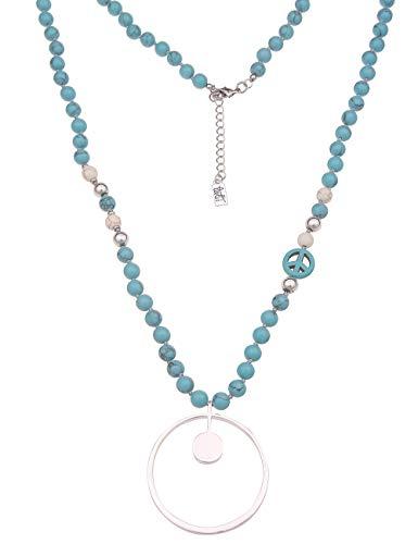 Leslii Damen-Kette Peace-Zeichen Naturstein Ring-Anhänger Lange Halskette Blaue Modeschmuck-Kette in Silber Türkis