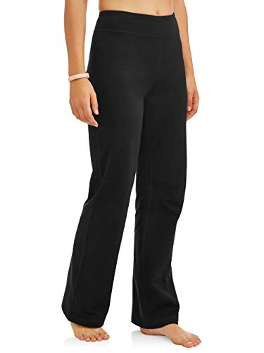 Athletic Works Women's Bootcut Fit Dri-More Core Cotton Blend Yoga Pants, Black, XL