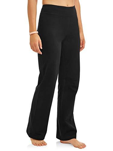 Athletic Works Women's Bootcut Fit Dri-More Core Cotton Blend Yoga Pants, Black, L