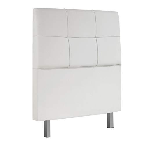 Chester, Cabecero Acolchado de Cama de Dormitorio, Cabezal, Acabado en Simil Piel Color Blanco, Medidas: 100 cm (Ancho) x 114 cm (Alto) x 11 cm (Fondo)