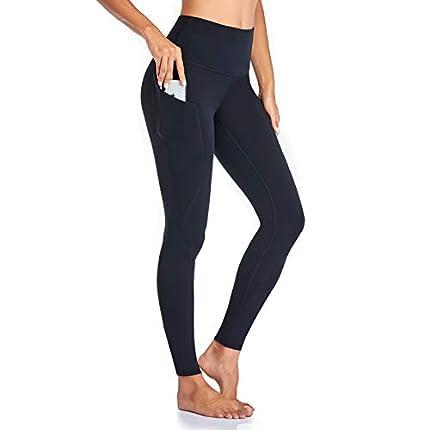 Occffy Leggings Mujer Deporte Cintura Alta Mallas Pantalones Deportivos Leggins con Bolsillos para Yoga Running Fitness y Ejercicio Oc01 (Negro, M)