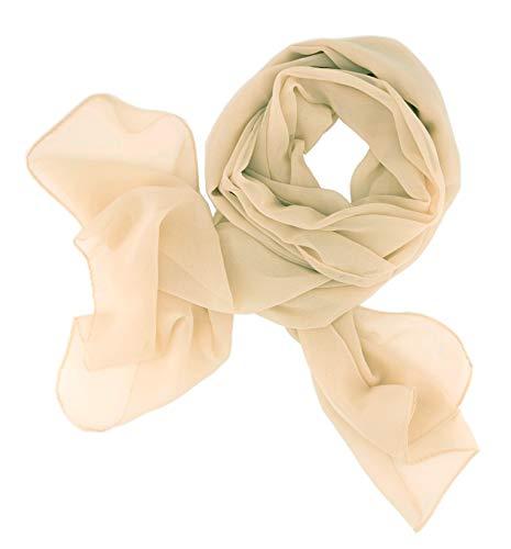 Dolce Abbraccio Damen Schal Stola Halstuch Tuch aus Chiffon für Frühling Sommer Ganzjährig Champagner Creme