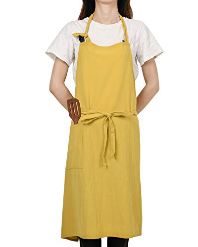 JSDing 100% Cotone Grembiule Cucina Donna con Tasche Grembiule da Lavoro Giapponese Regolabile Professionali per Chef Barbecue Bar Giardinaggio, 87x98