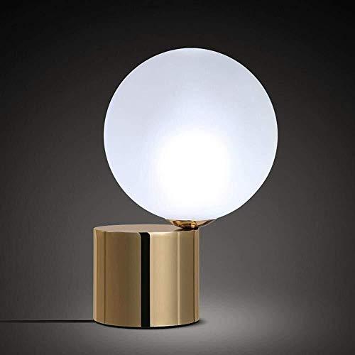YZYZYZ Moderno nórdico industrial minimalista diseño LED lámpara de escritorio con pantalla de bola de vidrio, base de hierro para dormitorio, estudio, decoración
