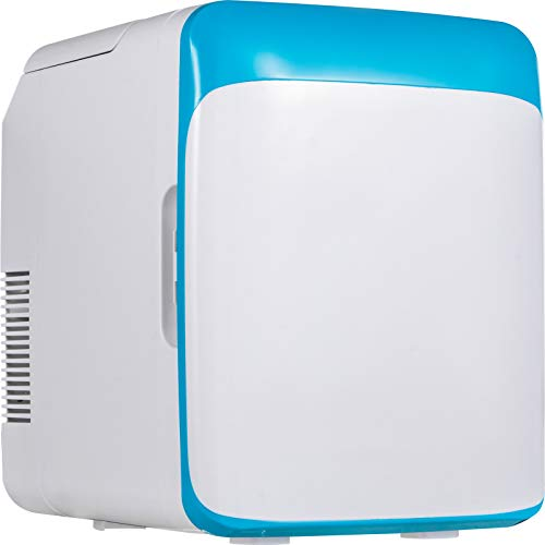 VEVOR Mini Nevera Pequeña Portátil, 220 V/12 V 48 W 10 L Mini Refrigerador, Material ABS Tamaño Exterior 26 x 25 x 35 cm Azul Mini-Frigorífico Portátil con Función de Frío y Calor para Coche y Casa