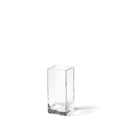 Leonardo Kastenvase Column, moderne Blumenvase, handgefertigtes Unikat in quadratischer Form aus Glas, 20-cm, 014136