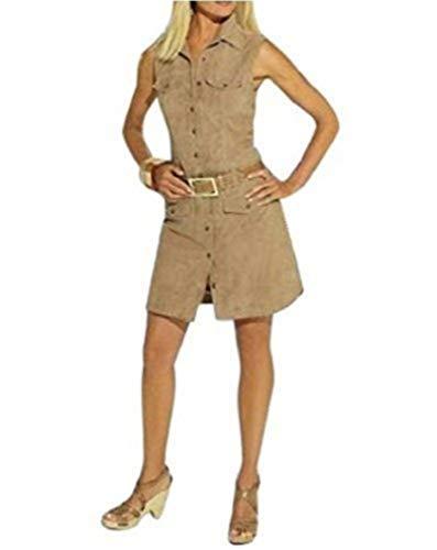 Leren jurk van Apart geitenvelours in bruin karamel