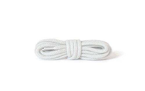 Kaps Runde, dicke Schnürsenkel, Durchmesser: 5–6mm, strapazierfähig, aus 100% Baumwolle für Freizeitschuhe, hergestellt in Europa (120 cm - 47 inch - 6 bis 8 Schnürösenpaare / 01 - Weiß)