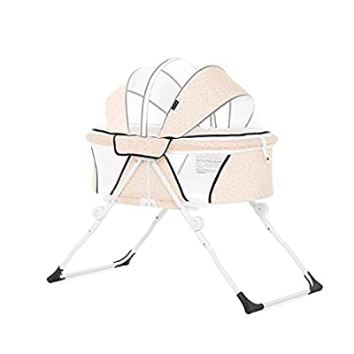 Dream On Me Karley Plus Portable Quick Fold Bassinet with Removable Canopy in Blush Pink