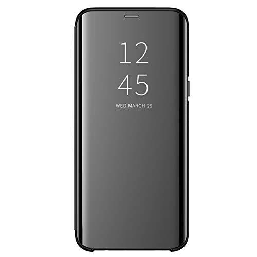 Funda para Samsung Galaxy J6/J6 Plus Suave + Duro Carcasa Espejo Mirror Flip Caso Ultra Delgada Shock Caja del Teléfono Translucent Window View (Negro, Samsung Galaxy J6)