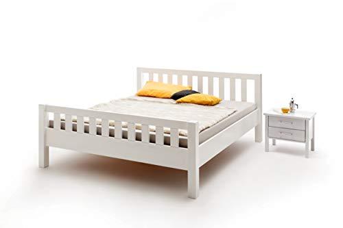 ambiato Bett Massivholz Weiß 100x200cm EInzelbett Komfortbett Seniorenbett Bettgestell