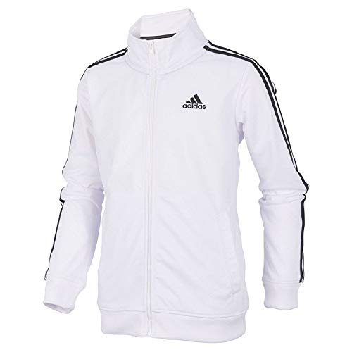adidas Boys' Tricot Active Track Warm-Up Jacket, BoS White, Small