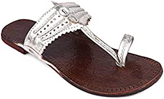 Net Brands Hulya Casual Footwear for Womens/Punjabi Jutti/Mojari for Party Silver Slippers