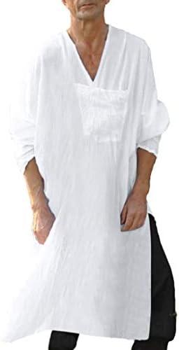 WUAI Men Long Dress Shirt Long Sleeve Loose Fit Oversized Long Gown Robe Vintage Dress Kaftan product image