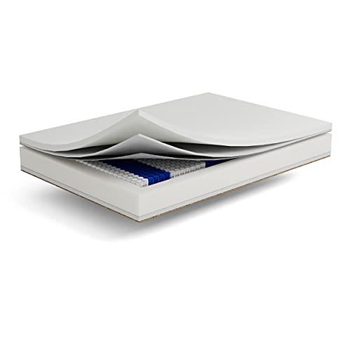 Federkernmatratze Multipocket Oprah - 7-zonen Taschenfederkernmatratze - Matratze mit Kokosnussschicht und Visco-Schaum Matratzen Härtegrad H3 - Entspannen Memory Foam (Silver, 80x200 cm)