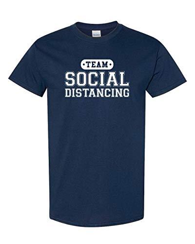 CreateMyTee | Team Social Distancing T-Shirt | Funny Quarantine 2020 Introvert Joke Mens/Womens T-Shirt (Navy, 2X-Large)