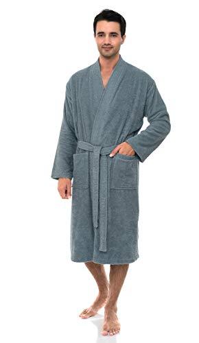 TowelSelections Men's Robe, Turkish Cotton Terry Cloth Kimono Bathrobe Large/X-Large Dutch Blue