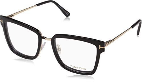 Tom Ford FT 5507 Geomteric Metal Eyeglasses Frame 53-18-140 Shiny Black (001)