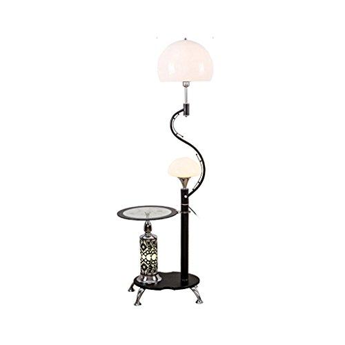 ZZL Lamparas de Pie Lámpara de pie Multiusos Moderna, con estantes de Vidrio, 2 Pantallas de acrílico Blancas claras, lámpara de pie para Sala de Estar y Dormitorio, H166cm Dormitorio (Color : Black)