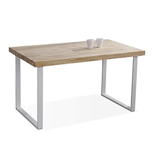 Adec Group Natural, Mesa de Comedor, Mesa Salon o Cocina Fija Color Roble Salvaje y Blanco, Medidas: 140 cm (Largo) x 80 cm (Ancho) x 76,5 cm (Alto)