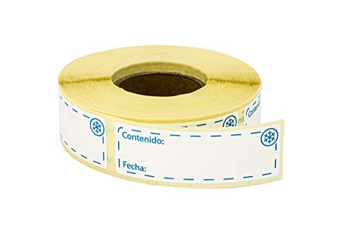 500 uds Etiquetas Adhesivas para Congelador de Alimentos, 25x75 milímetros. Etiquetas Removibles y Reutilizables, Pegatinas Extraíbles para Congelados