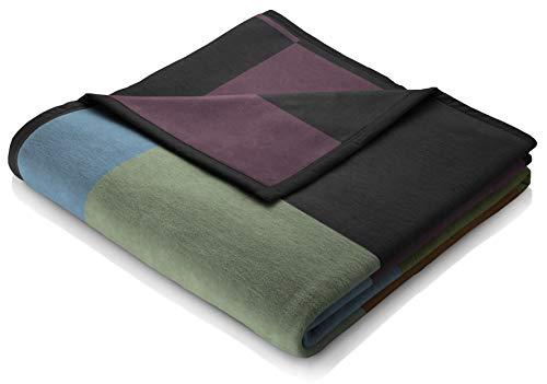 biederlack kuschelige Wolldecke-Karierte Kuscheldecke Lana Color-Quader aus Wolle Farben-Wohndecke 150x200 cm-Made in Germany-Öko-Tex Standard 100, bunt: schwarz, grün, blau, orange, violett