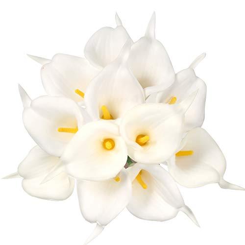 Omldggr 12 Stück Künstliche Calla-Lilien Künstliche Blumen Bouquet Weiß Künstliche Calla-Lilien mit Stiel für Hochzeit, Haus, Party, Büro und Garten Dekoration