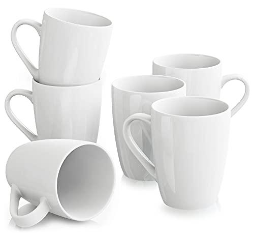 MALACASA, Serie Elisa, 6 TLG Grauweiß Kaffeetasse Becher Set Porzellan Kaffeebecher