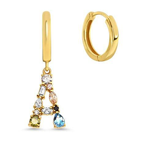 Hoops Earrings For Women,Golden 925 Silver Colorful Zircon Initials A Drop Earrings Hypoallergenic Lightweight Hoop Ring Circle Jewelry Earrings For Women Girls Party Wedding