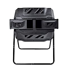 EJWOX Composting Tumbler - Dual Rotating Outdoor Garden Compost Bin, Easy Turn/Enough Height/Heavy Duty Capacity Composter(43 Gallon, Balck)