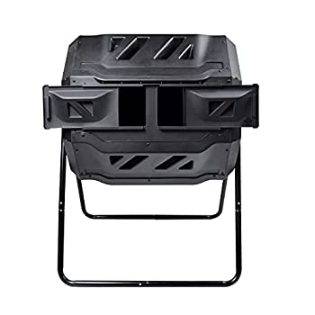 EJWOX Garden Compost Bin from BPA Free Material Dual Rotating Outdoor Composting Tumblers  43 Gallon,Black