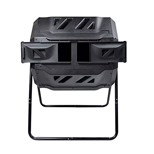 EJWOX Garden Compost Bin from BPA Free Material, Dual Rotating Outdoor Composting Tumblers (43 Gallon,Black)