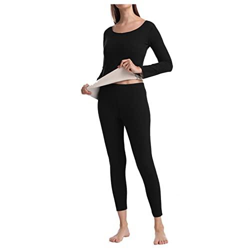 XUNN Set di biancheria intima termica da uomo e da donna, con interno in pile, ultra leggera, con scollo a U, per l'inverno, Tuta da donna (1), XL